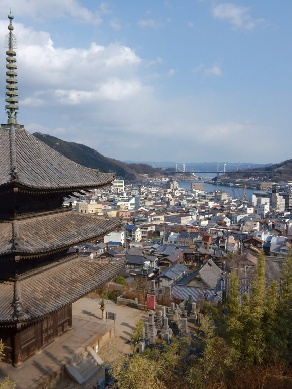 View of Onomichi past Tenneiji's three-storey pagoda